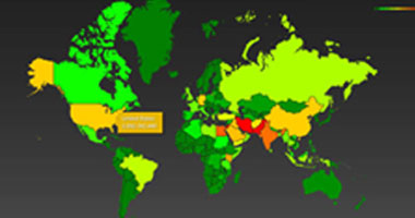 خريطة توضح الدول الخاضعة للتجسس الأمريكى