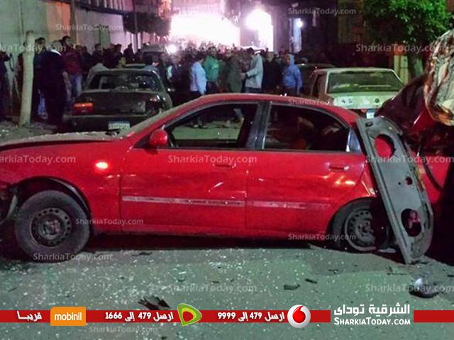 صورة بالصور | انفجار قنبلة بدائية الصنع أمام مدرسة «القديس يوسف» بجوار البنك الأهلى بالزقازيق