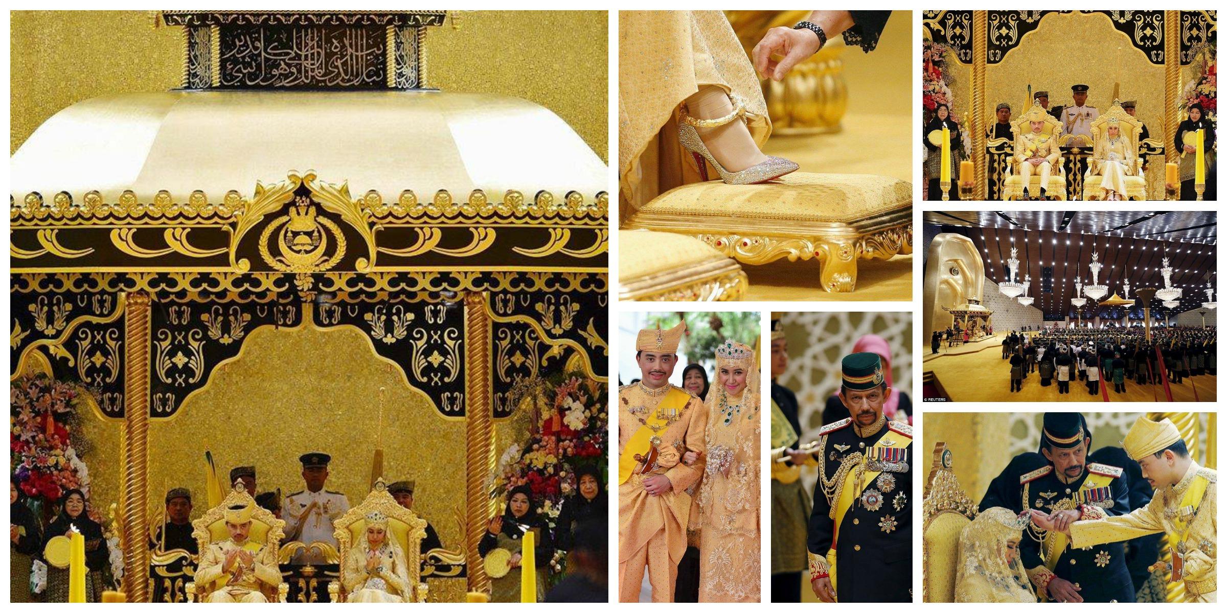 صورة عروسان يرتدىان ملابس ذهبية ومرصعة بالألماس في زفاف الابن الأصغر لسلطان بروناي