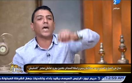 صورة لحظة انسحاب مطالب بتوزيع الحشيش على بطاقة التموين من برنامج الأبراشي
