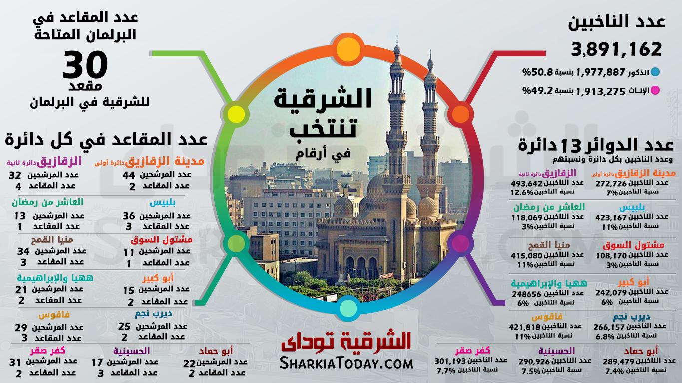 صورة انفوجراف..تعرف على عدد الناخبين والمقاعد المخصصة لكل دوائر محافظة الشرقية