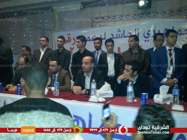 صورة مؤتمر جماهيري للمرشح محمد الطوخي بحضور رئيس حزب مستقبل وطن بمنيا القمح