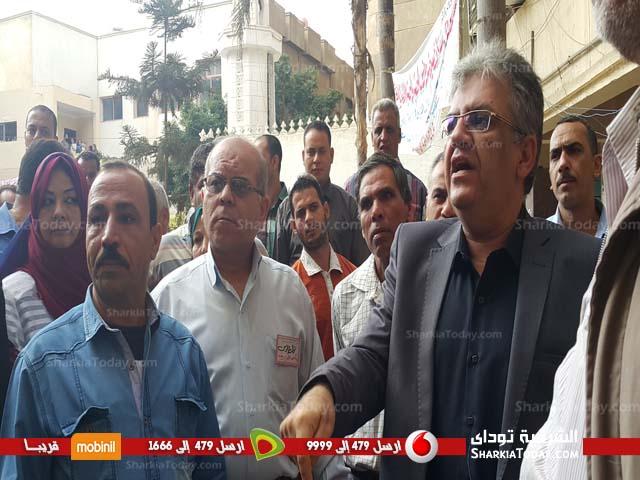 صورة وقفة احتجاجية للعاملين بمديرية الشئون الصحية بالشرقية