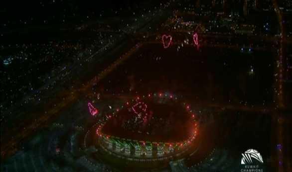 صورة بالفيديو.. ألعاب نارية مبهرة في افتتاح استاد جابر الكويتي