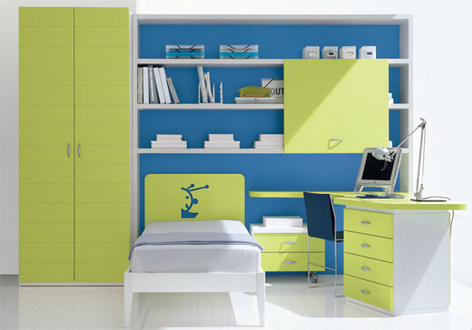 green and blue kids bedroom design ideas