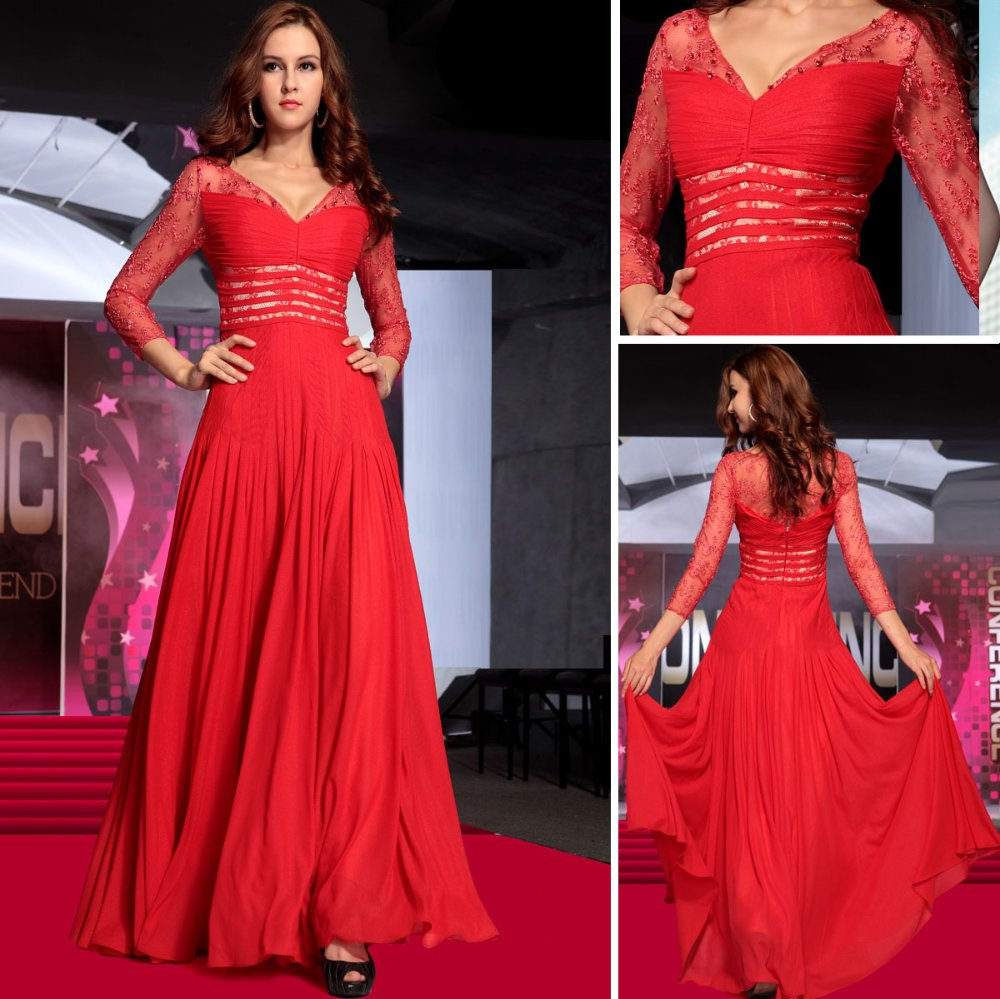 Lace Three Quarter Sleeves V Neck Red Party Dresses 30733 Free Shipping by EXPRESS