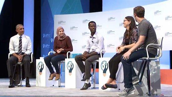 صورة فتاة مصرية تصدرت قمة ريادة الأعمال وجلست بين أوباما وزوكربيرج