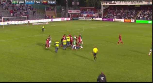 صورة بالفيديو.. مشجع سويدى يقتحم المعلب للاعتداء على حارس المرمى