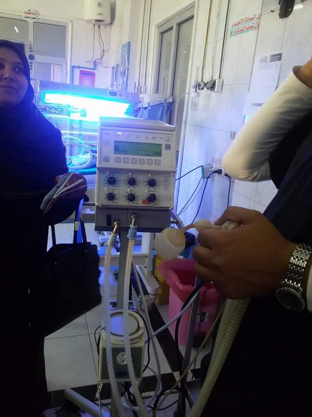 صورة إعادة 3 حضانات و2 جهاز تنفس صناعى للخدمة بمستشفى ههيا