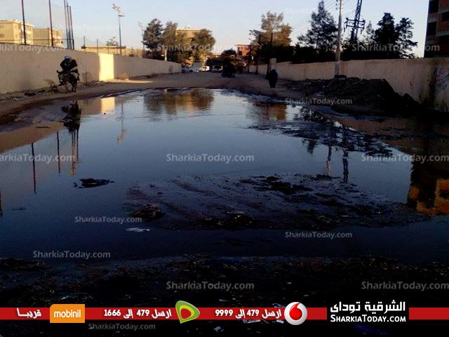 صورة على بُعد خطوات من منزل نواب أبوحماد.. انفجار ماسورة صرف صحي بقرية «السناجرة»