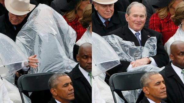 صورة بالصور.. ماذا فعل بوش في حفل تنصيب ترمب؟