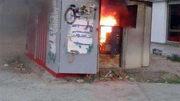 صورة حريق بكشك كهرباء بالزقازيق