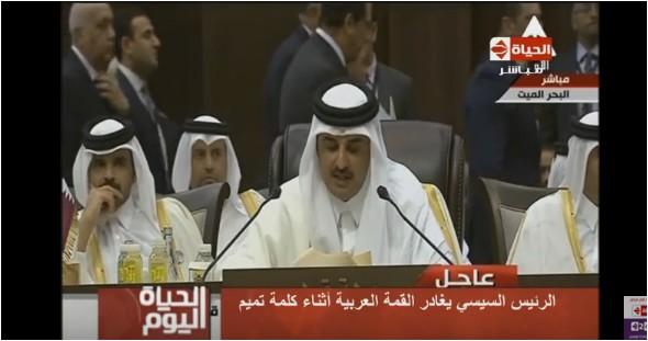 صورة بالفيديو.. «تامر أمين»: السيسيأثبت لـ «أمير قطر» أنه دكر