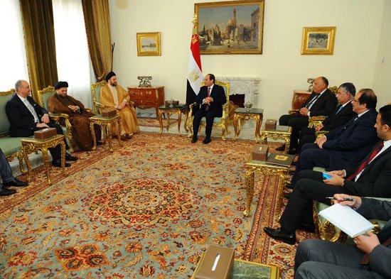 صورة بالصور.. السيسي يؤكد أهمية تجاوز الخلافات بين مختلف الكتل السياسية بالعراق