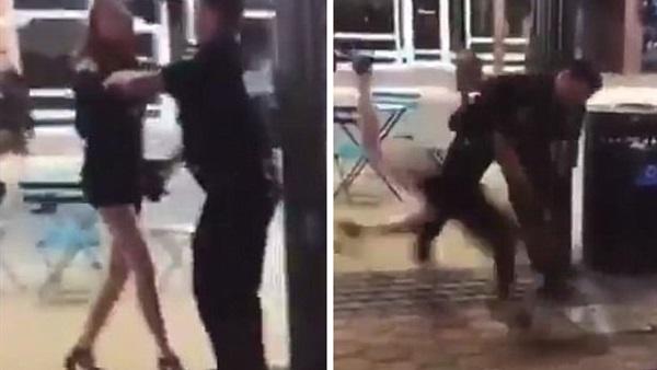 صورة ضابط شرطة يطرح فتاة أرضًا ويحطم عظام وجهها بالكامل بأمريكا