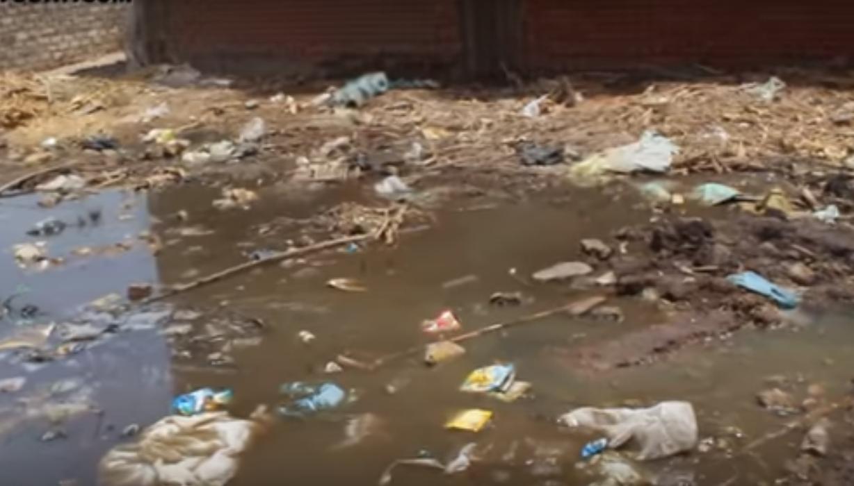 صورة بالفيديو.. قرية سنهوا بمنيا القمح تغرق في مياه الصرف الصحي والأهالي :عايشين زي الميتين
