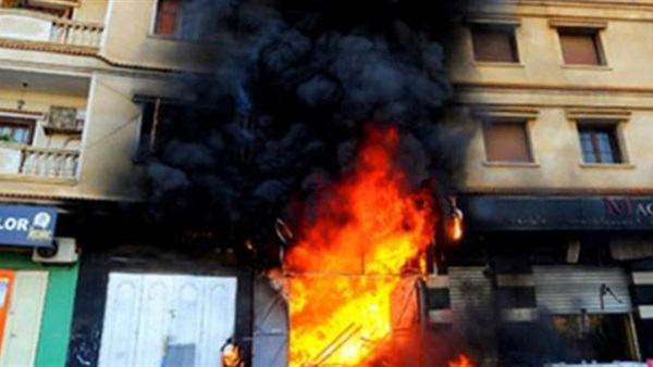 صورة نشوب حريق بمحل بقال تمويني بقرية السماعنة بفاقوس