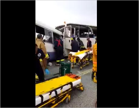 صورة لحظة وقوع حادث الكويت الذي أدى إلى مصرع 5 مصريين