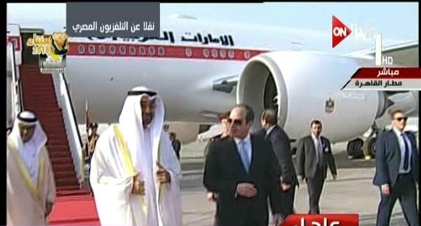 صورة لحظة استقبال الرئيس السيسى لولي عهد أبوظبي