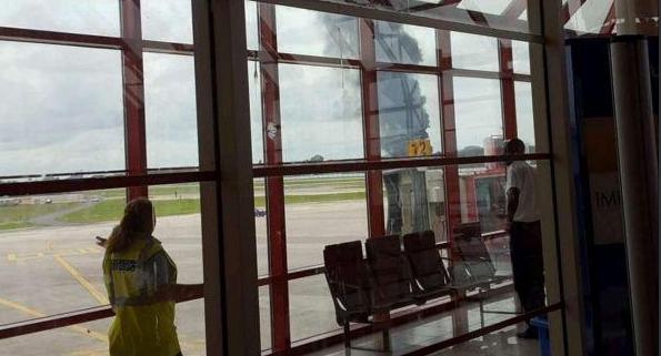 صورة تحطم طائرة بوينج في مطار هافانا الدولي