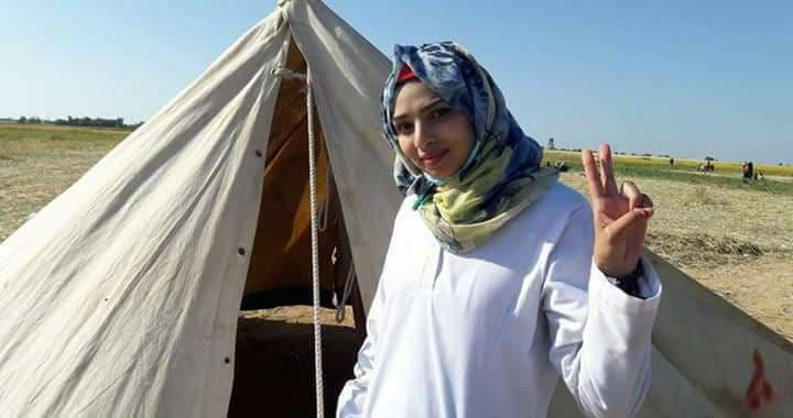 صورة استشهاد المسعفة رزان النجار برصاص جيش الاحتلال الإسرائيلي