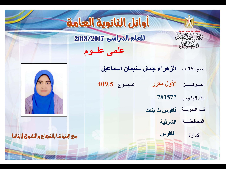 صورة أسماء أوائل الثانوية العامة 2018 بالشرقية