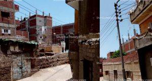 أعمدة الكهرباء تضئ نهارًا بقرية الطويلة بفاقوس