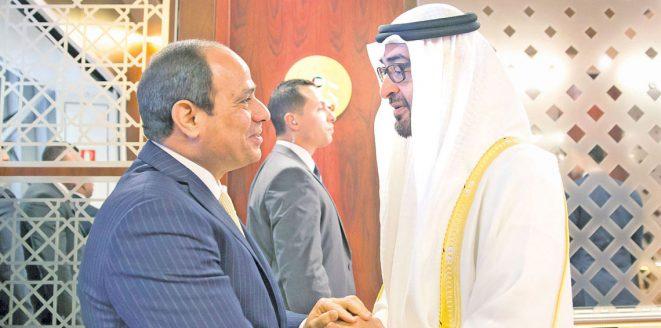 صورة السيسي ومحمد بن زايد يؤكدان رفضهما التدخل في شئون الدول العربية
