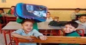 عم الطفل الباكى بسبب النوم فى المدرسة
