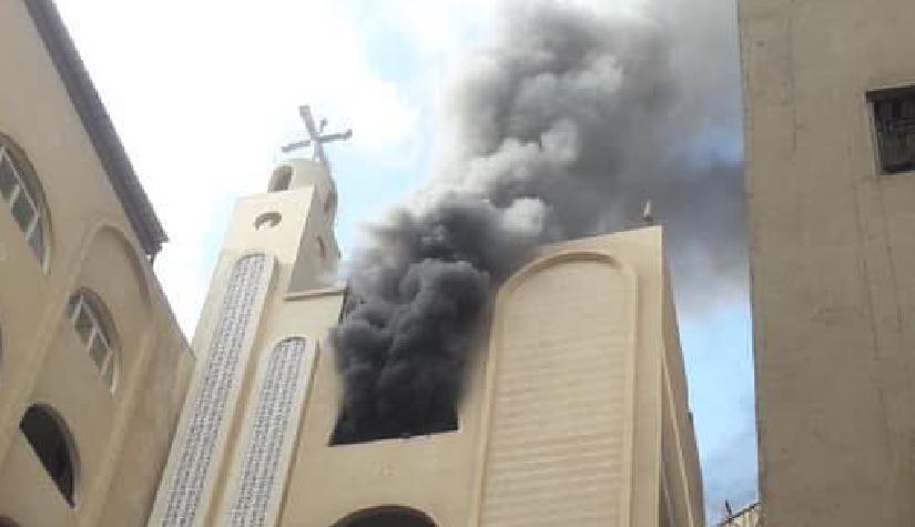 صورة حريق في كنيسة القديسة دميانة بالهرم