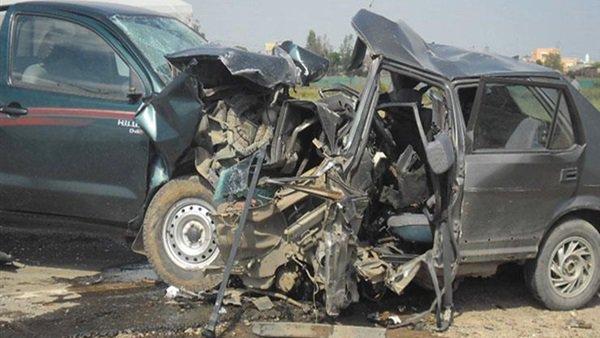 صورة إصابة مذيعة بقناة المحور في حادث تصادم على الطريق الصحراوي
