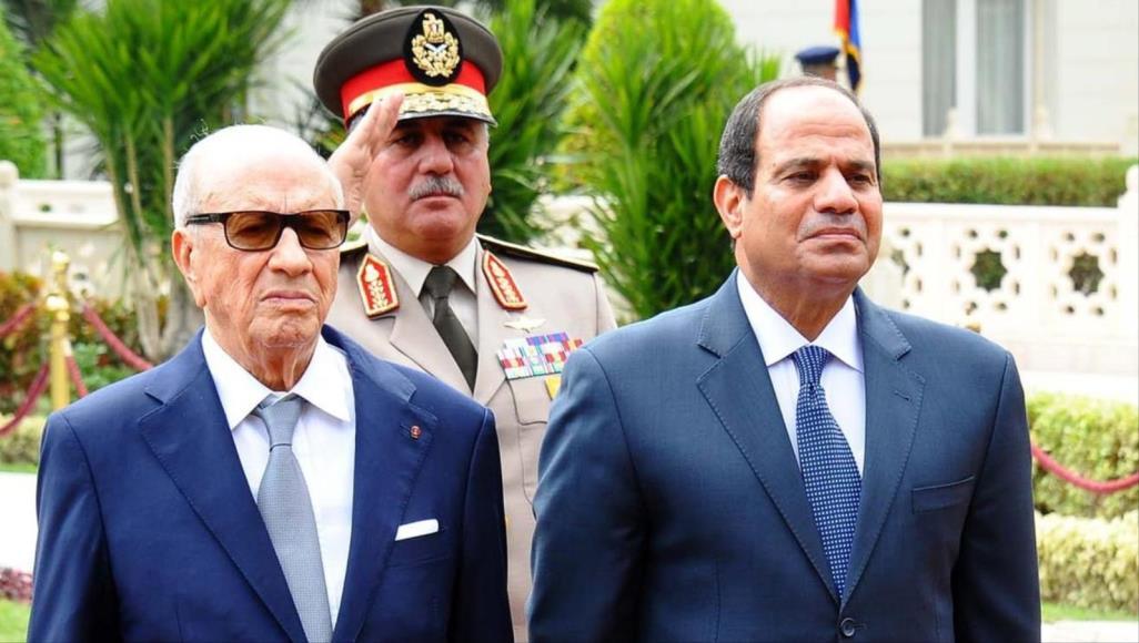 صورة السيسي ينعي وفاة رئيس تونس