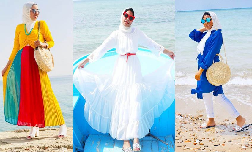 صورة ملابس البحر للمحجبات موضة صيف 2019