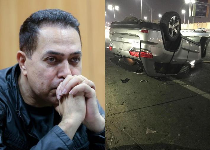 صورة حقيقة تعرض حكيم لحادث مروع بسيارته وتدهور حالته الصحية