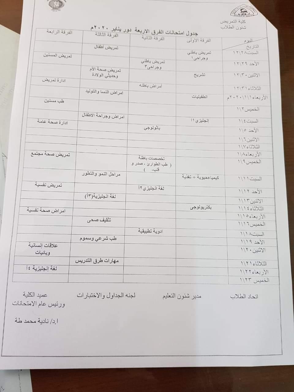 جدول امتحانات كلية التمريض جامعة الزقازيق