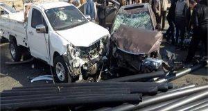 حادث تصادم سيارتين بمنيا القمح