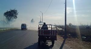 حريق قش الأرز بطريق أبوحماد الزقازيق