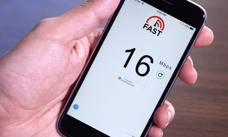 تطبيق فاست سبيد لقياس سرعة النت