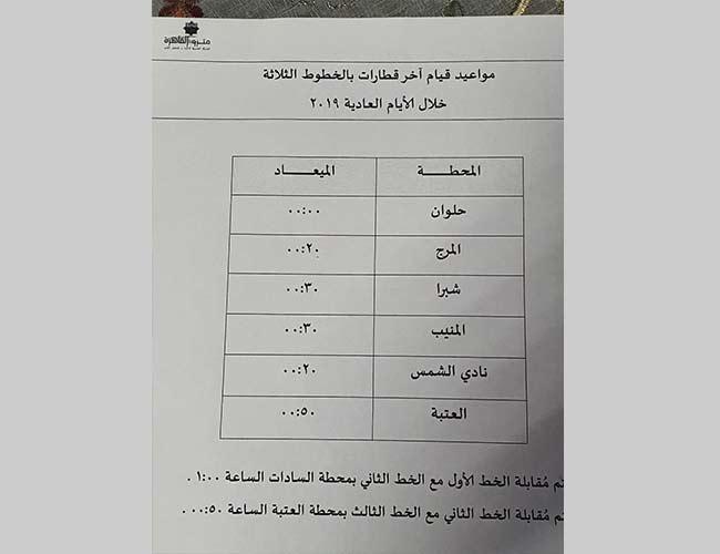 صورة موعيد مترو الانفاق الجديدة بعد رفع الحظر