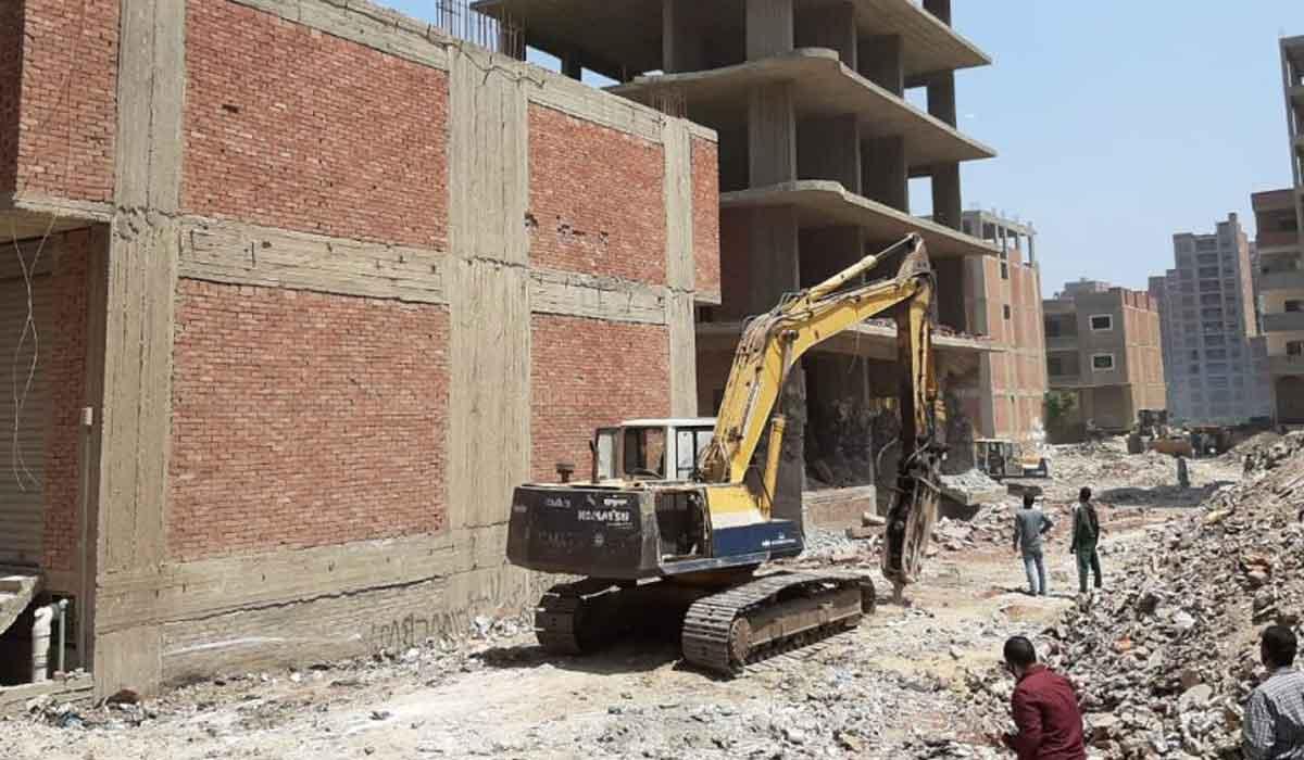 صورة إزالة 4 أبراج مخالفة في الغشام بالزقازيق