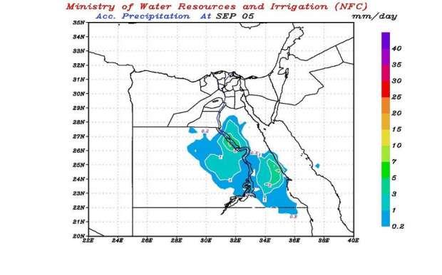 خريطة أماكن سقوط الأمطار حتى الإثنين القادم