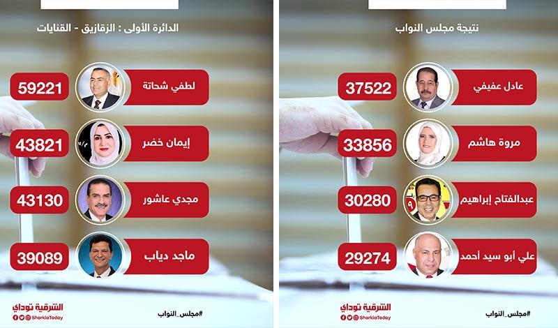 نتيجة انتخابات مجلس النواب الدائرة الأولى الزقازيق والقنايات