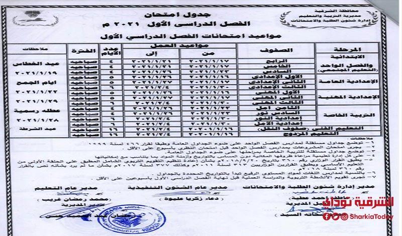 جدول امتحان الفصل الدراسي الأول 2021