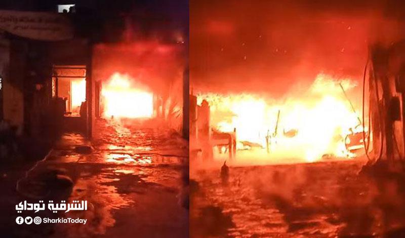 حريق هائل في مغسلة سيارات بالشرقية
