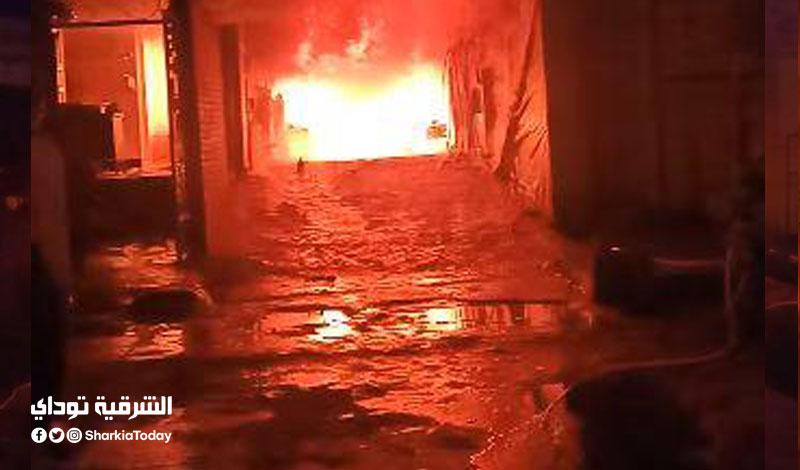 حريق هائل في مغسلة سيارات بالشرقية2