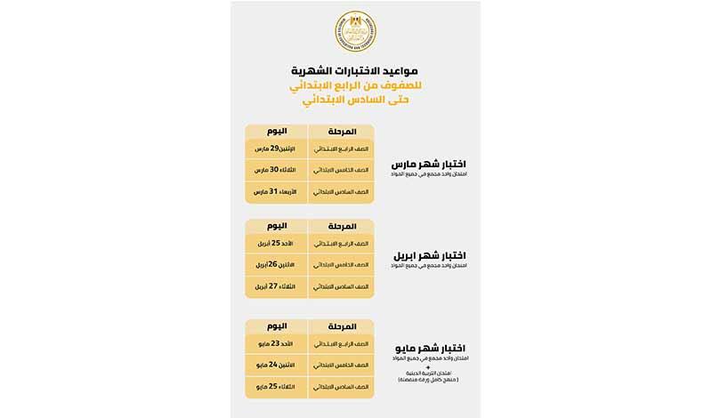 موعد امتحانات الترم الثاني 2021