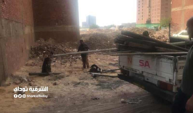 أعمال بناء مخالف في الغشام بالزقازيق والتحفظ على المعدات صور