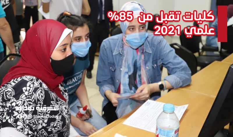 كليات تقبل من 85 علمي 2021