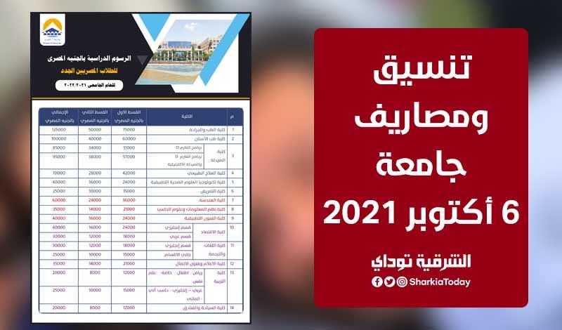 تنسيق ومصاريف جامعة 6 أكتوبر 2021